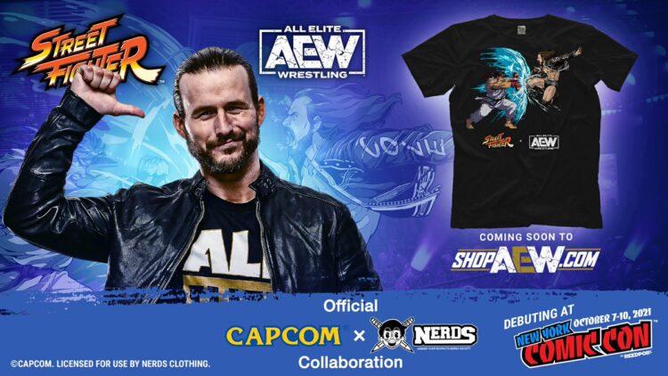 AEW anuncia camisas temáticas de Street Fighter em parceria com a Capcom